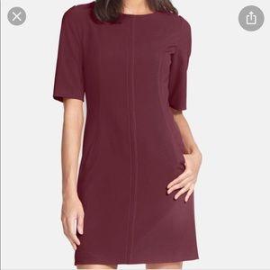 Tahari Burgundy Dress w Gold Zipper